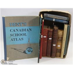 BOX WITH OLD VINTAGE BOOK FROM 1887 AND & 1900S.