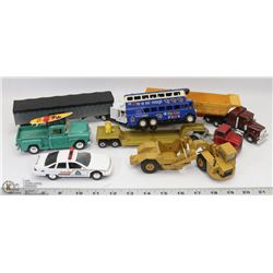 FLAT OF COLLECTIBLE TOY TRUCKS.