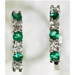 #7)STERLING SILVER EMERALD HOOP EARRINGS.