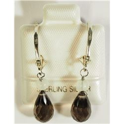 #9)SMOKEY QUARTZ (4CT) EARRINGS.