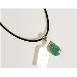 #18)STERLING SILVER EMERALD PENDANT (3CT)