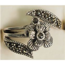 #20)STERLING SILVER MARCASITE RINGS