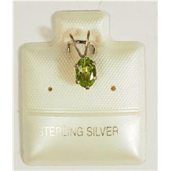 #38)STERLING SILVER PERIDOT PENDANT