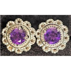 #40)STERLING SILVER AMETHYST STUD EARRINGS