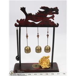 RED WOOD CARVED DRAGON WIND CHIMES