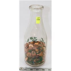 VINTAGE MILK BOTTLE FULL OF ASSORTED PENNIES