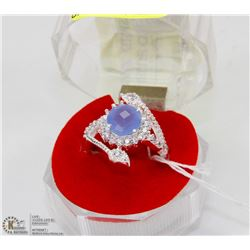 #6-BLUE CHALCEDONY ,WHITE TOPAZ  GEMSTONE RING