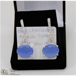 #5-BLUE CHALCEDONY, WHITE TOPAZ GEMSTONE EARRINGS