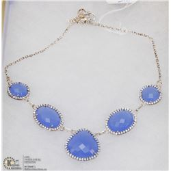 #4-BLUE CHALCEDONY,WHITE TOPAZ GEMSTONE NECKLACE