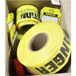 BOX OF FLAGGING TAPE, BARRICADE TAGS AND MORE