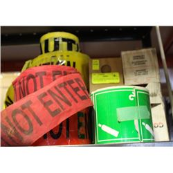 LOT OF ASSORTED BARRICADE TAPE INCL CAUTION, DO