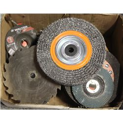 LOT OF ABRASIVES, SANDING DISCS, WIRE BRUSHES AND