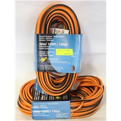 GROUP OF 2 NEW 100FT EXTENSION CORDS