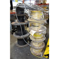 LOT OF 10 ASSORTED LARGE SPOOLS OF POWER CABLES