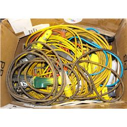 BOX OF EXTENSION CORDS AND SAFETY WORK LIGHTS