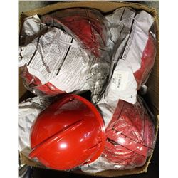 BOX OF NEW RED HARD HAT WITH ADJUSTABLE LINER
