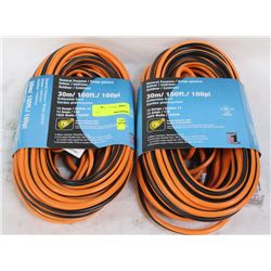 GROUP OF 2 NEW 100 FT 14 GAUGE EXTENSION CORDS