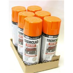 CASE OF TREM CLAD RUST PAINT GLOSS ORANGE 6 CANS