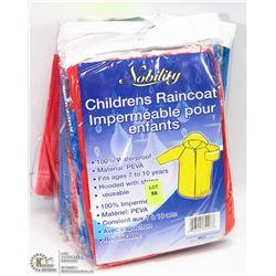 GROUP OF 8 CHILDRENS RAIN COATS