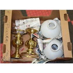 2 BRASS OIL  LAMPS WITH SHADES,