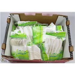 BOX OF PLASTIC CUTLERY