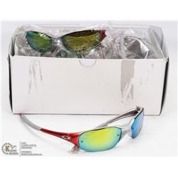 BOX OF RED AND SILVER SUNGLASSES