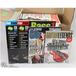 BOX OF 44 GUITAR MAGAZINES WITH PLAY ALONG CDS