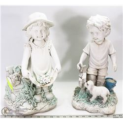 "BOY AND GIRL RESIN GARDEN STATUES - BOTH 15""H"