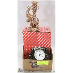 NEW ELEPHANT CANDLE HOLDERS WITH MANTLE CLOCK