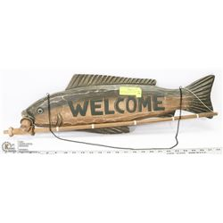 LARGE WOOD FISH WELCOME SIGN - GREAT FOR THE