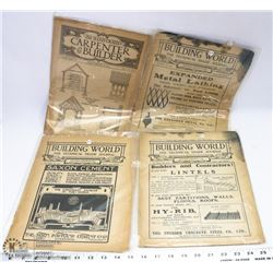 LOT OF 4 ANTIQUE BUILDING WORLD JOURNAL CIRCA 1911