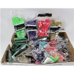 LARGE FLAT WITH PACKAGES OF ASSORTED COLOR CUTLERY