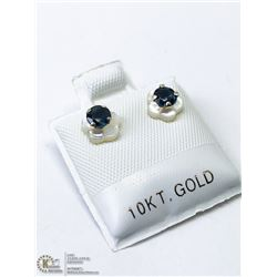 24) 10KT GOLD SAPPHIRE MOTHER OF PEARL EARRINGS