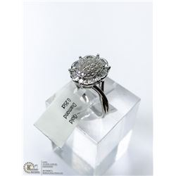 27) 10KT WHITE GOLD NATURAL DIAMOND RING