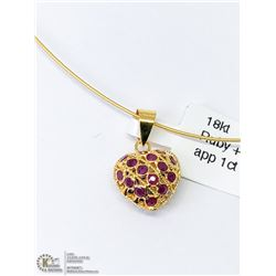 30) 18KT GOLD SAPPHIRES & RUBIES PENDANT NECKLACE