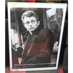 LARGE FRAMED BLACK & WHITE JAMES DEAN POSTER -