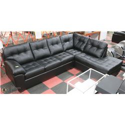 NEW BLACK LEATHERETTE CHAISE SECTIONAL