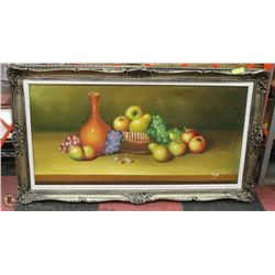 LARGE FRUIT BOWL OIL ON CANVAS FRAMED PICTURE