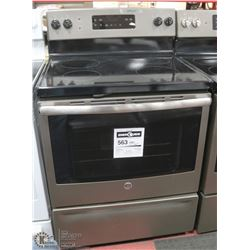 "GE SLATE GREY 30"" 4 BURNER STOVE, SELF CLEAN"
