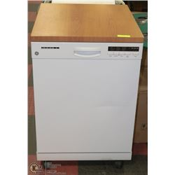 "PORTABLE GE DISHWASHER WITH COUNTER TOP 24"" WHITE"