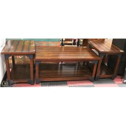 WOOD AND METAL RUSTIC DESIGN COFFEE TABLE SET