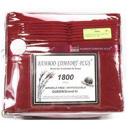 BAMBOO QUEEN SIZE BURGUNDY COMFORT PLUS  1800