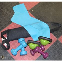 LOT OF WEIGHTS, KETTLE BELLS, RESISTANCE BAND