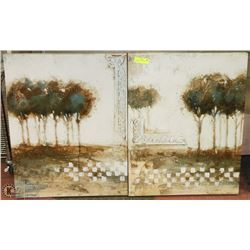 2 MATCHING TREE CANVAS PICTURES