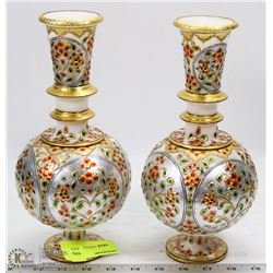 PAIR OF NATURAL STONE HANDPAINTED VASES