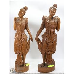 PAIR OF WOOD CARVED CHINESE LADY ORNAMENTS