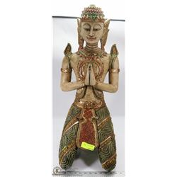 WOOD CARVED ORIENTAL GOD STATUE
