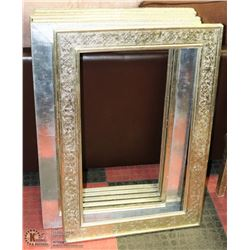 6 HEAVILY CARVED STYLE SILVER TONED PICTURE FRAMES