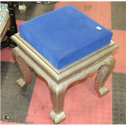 CARVED STYLE METAL BLUE FABRIC STOOL