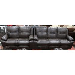 "NEW BROWN LEATHERETTE RECLINING 84"" WITH 60"" LOVE"